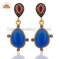 Blue Chalcedony Pave Diamond & Ruby Earrings