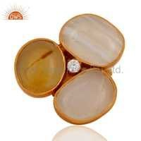 Sterling Silver 22K Gold Vermeil Agate Stone Ring