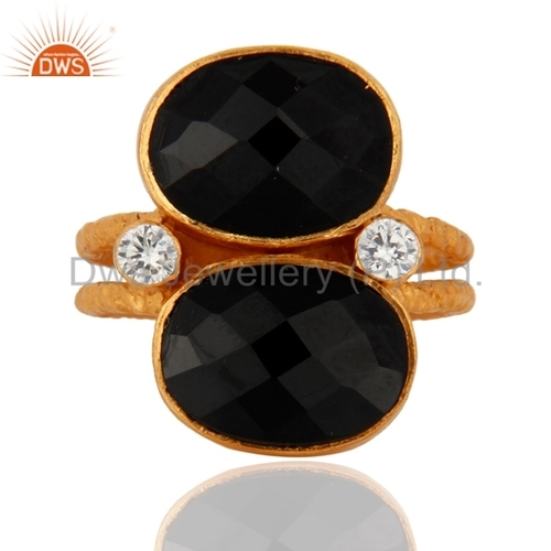 18K Gold Plated Sterling Silver Black Onyx Ring