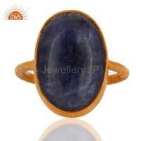 Sterling Silver Tanzanite Gemstone Gold Plated Ring