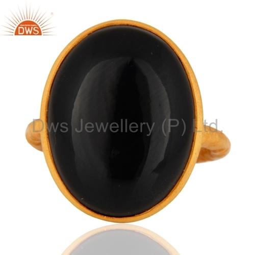 Black Onyx Gemstone Gold Plated Ring Jewelry