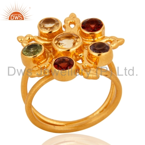 Sterling Silver 18k Gold Plated Multicolored Gemstone Ring