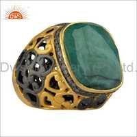 Emerald Cut Diamond 18k Gold Plated 925 Silver Ring