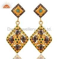 Gold Silver Emerald Pave Diamond Earring
