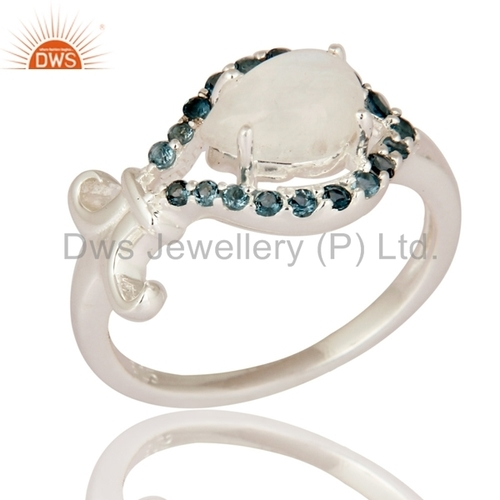Blue Topaz & Rainbow Moon Stone 925 Silver Rings