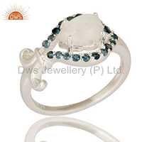 Blue Topaz & Rainbow Moon Stone 925 Silver Rings