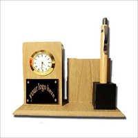 Wooden Pen Stand Clock