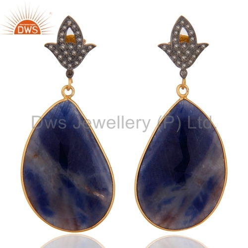 Blue Sapphire Designer Diamond Earrings Jewelry