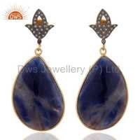 Natural Diamond Blue Sapphire Earrings Jewelry Manufacture