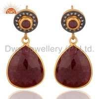 Natural Ruby Diamond Set Silver Earrings Jewelry Supplier