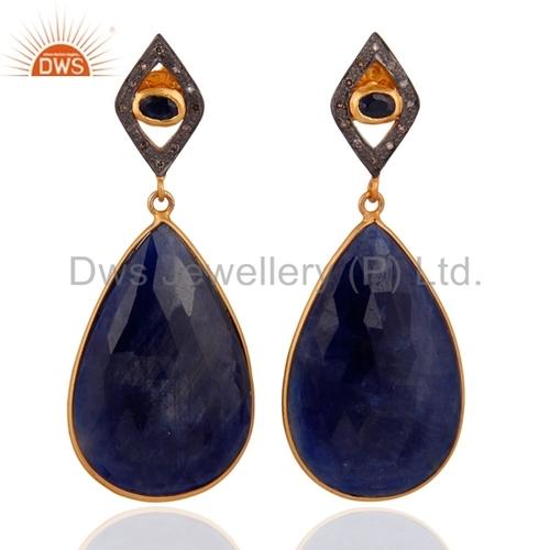 Pave Diamond Blue Sapphire Gemstone Earrings