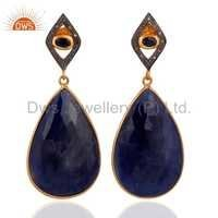 Diamond Set Natural Blue Sapphire Earrings Jewelry For Womens