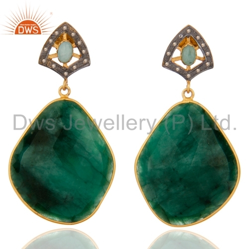 Emerald Diamond Sterling Silver Earring