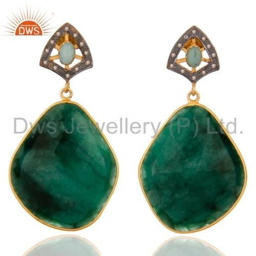 Natural Diamond Emerald Gemstone Earrings Supplier Jewelry