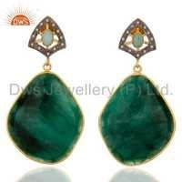 Natural Diamond Emerald Gemstone Earrings Supplier Jewelry