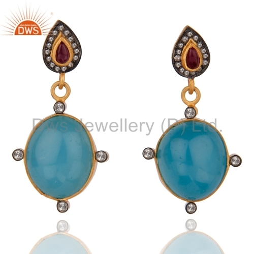 Natural Diamond Blue Chalcedony Earrings
