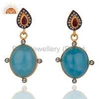 Natural Diamond Blue Chalcedony Earrings