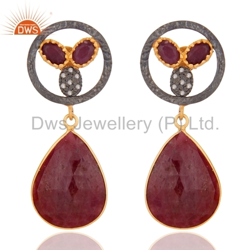 Sterling Silver Pave Diamond Ruby Earring