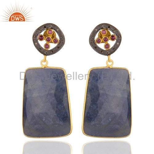 Sterling Silver Blue Sapphire Pave Diamond Earrings