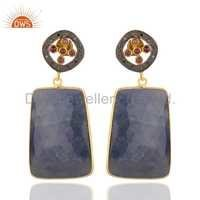 Sterling Silver Blue Sapphire Pave Diamond Earrings