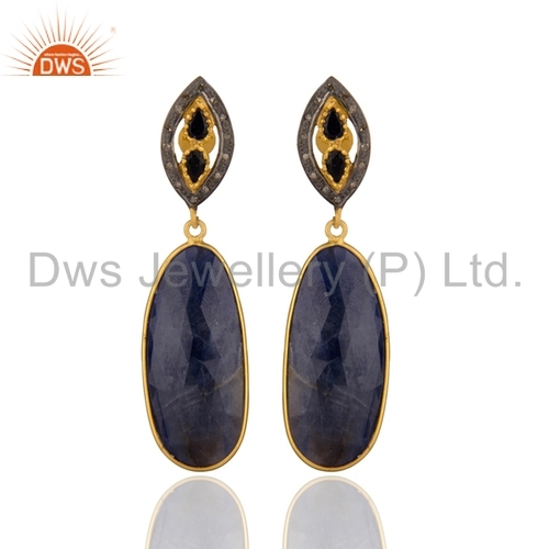 Blue Sapphire Pave Set Diamond Sterling Silver Earrings