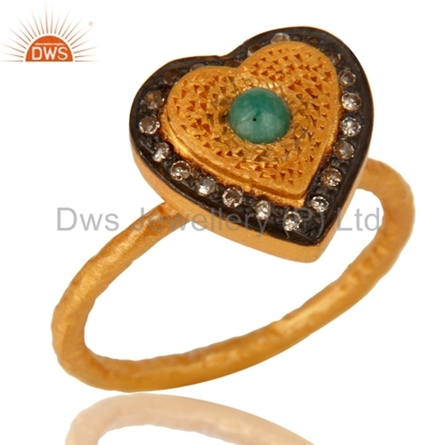 Silver Gold Plated Heart Shape Diamond Ring