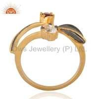 Dazzling Garnet 18k Gold Plated Brass Ring