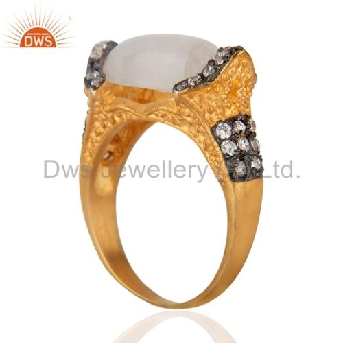 18k Gold Over Brass Rainbow Moonstone Ring