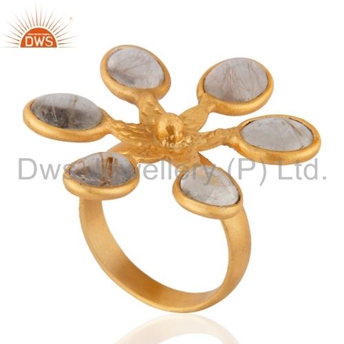 Golden Rutilated Quartz 18k Gold Plated Brass Ring