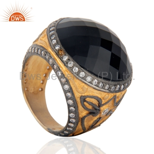 Black Onyx 24k Gold Vermeil Ring