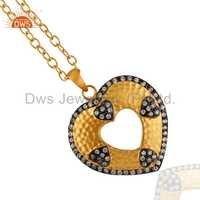 Heart Shape 24k Gold Plated White Zircon Pendant