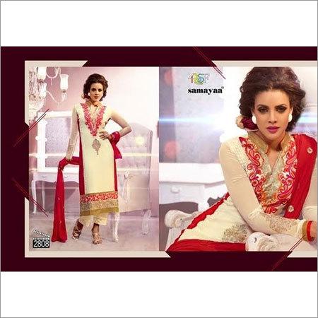 Red & White Designer Salwar Kameez