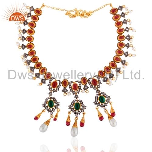 Ruby Glass Pearl Rhinestone 18K Gold Plated Nacklace