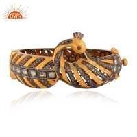 925 Silver Traditional Pave Diamond Bangle Jewelry