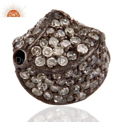 Silver Pave Diamond Beads