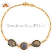 Sterling Silver Labradorite Emerald Bracelet