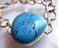 Turquoise Pear 30mm 9 Inch Metal Ready To Wear Bracelet