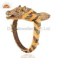 925 Silver Pave Diamond Sapphire Bangle Jewelry