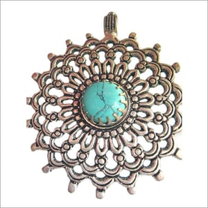 Turquoise 18mm round  metal ready to wear pendant