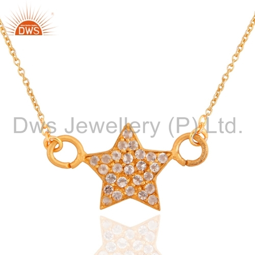 Star Design 925 Silver Gold Plated Pendant