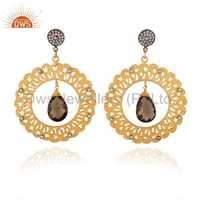 Cz Smoky Quartz Gemstone Silver Gold Plated Disc Earrings Jewelry