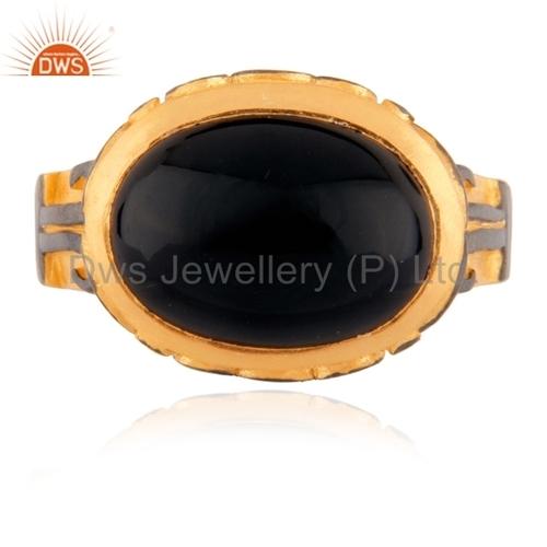 Sterling SIlver Gold Vermeil Black Onyx Ring