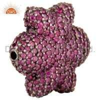 925 Silver Pink Sapphire Bead Finding Jewelry