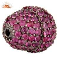 Pink Sapphire Sterling Silver Bead Charms