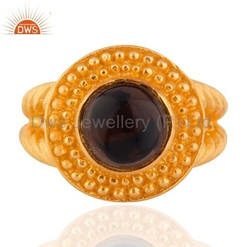 24K Gold Vermeil Smoky Quartz Sterling SIlver Ring