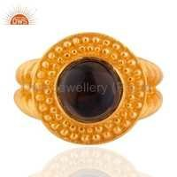 24K Gold Vermeil Smoky Quartz Sterling SIlver Ring