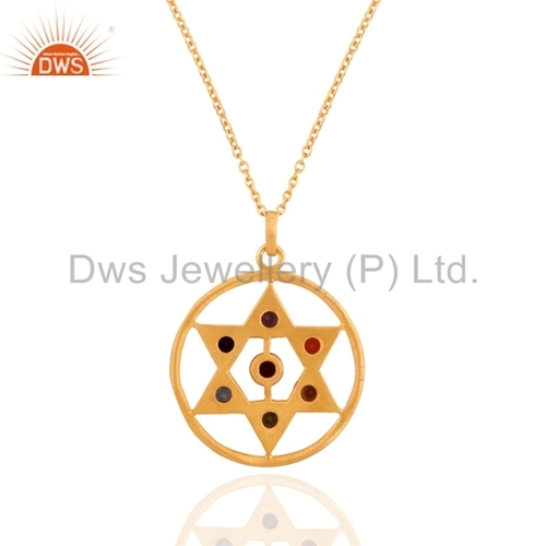 Sterling Silver Chakra Gemstone Gold Vermeil Pendant