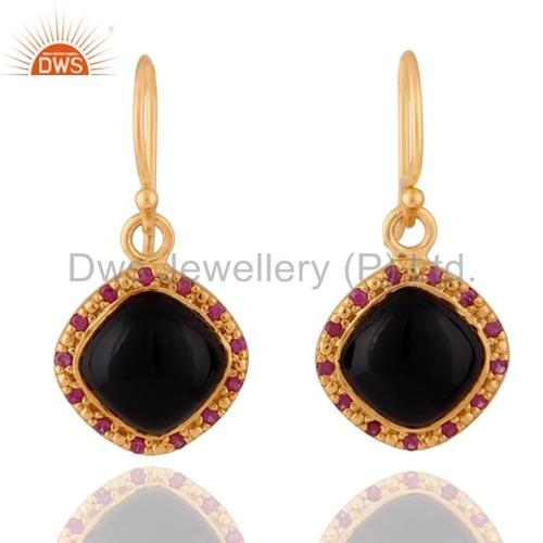 18K Gold Plated Black Onyx Sterling Silver Ruby Earrings