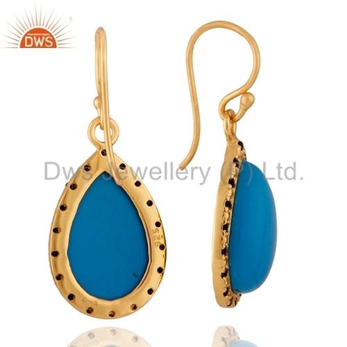 Blue sapphire 18k Gold Vermeil Turquoise Earring