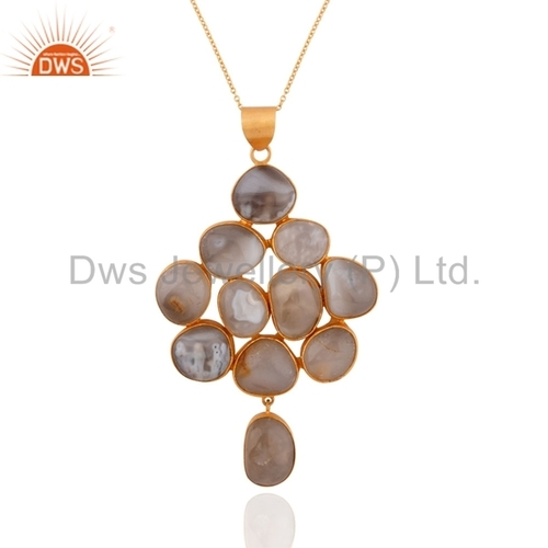 18K Gold Plated White Agate Sterling Silver Pendant